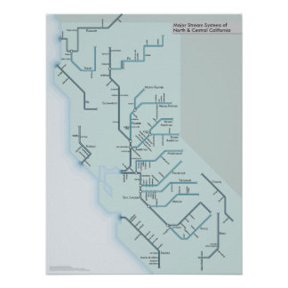 "North and Central California Rivers 18"" x 24"" Poster"