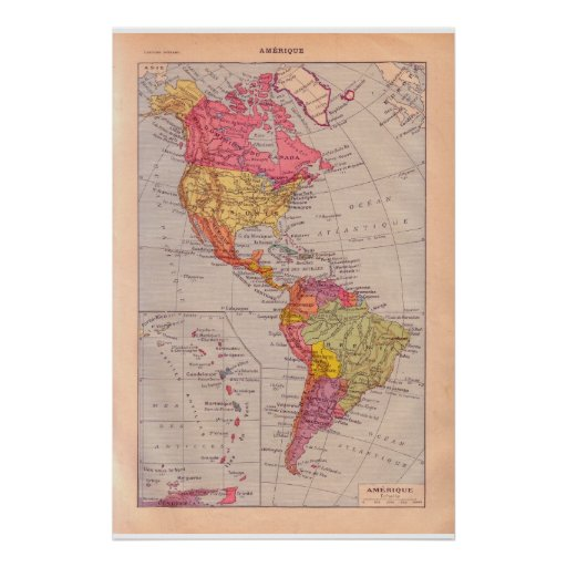 North and South America circa 1920 Poster