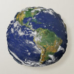 North and South America Earth Globe Round Pillow
