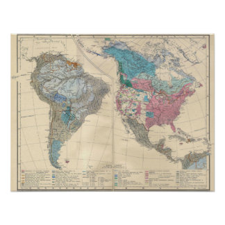 North and South America Ethnic Map from 1880 Print