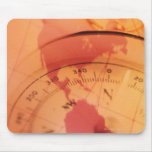 North and south america map with compass mouse pad
