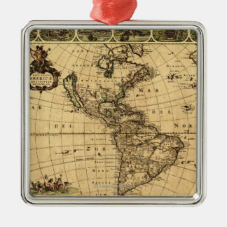 North and South AmericaPanoramic Map Metal Ornament