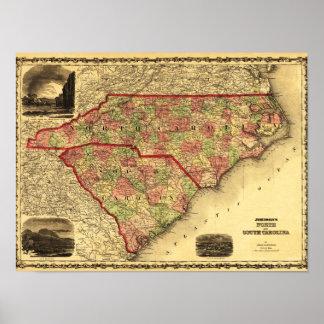 North and South CarolinaPanoramic Map Print