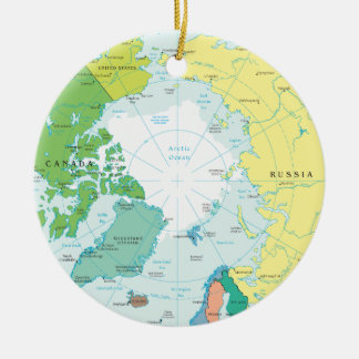 North- and South pole, artic region and Antarctica Ceramic Ornament