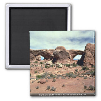 North and South windows, Arches National Park, Uta 2 Inch Square Magnet