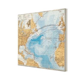 North Atlantic Ocean Map Gallery Wrap Canvas