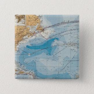 North Atlantic Ocean Map Pinback Button