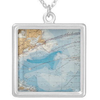 North Atlantic Ocean Map Silver Plated Necklace