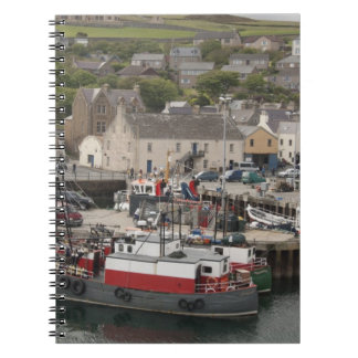 North Atlantic waterfront port of Stromness Spiral Notebook