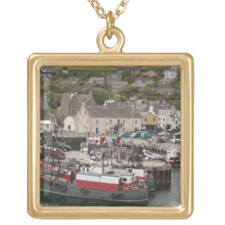 North Atlantic waterfront port of Stromness Square Pendant Necklace