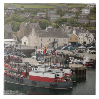 North Atlantic waterfront port of Stromness Large Square Tile