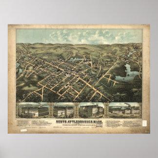 North Attleboro Mass. 1885 Antique Panoramic Map Poster