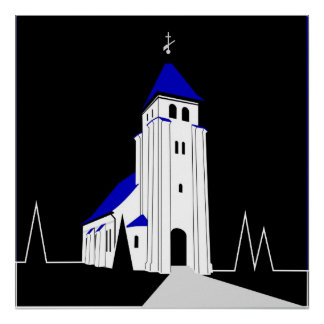 North Bjert Church - Night Poster