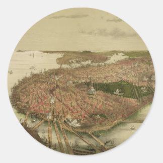 North Boston Massachusetts 1877 by John Bachmann Classic Round Sticker