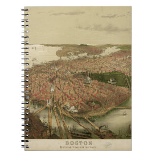 North Boston Massachusetts 1877 by John Bachmann Spiral Notebooks