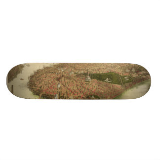 North Boston Massachusetts 1877 by John Bachmann Skateboard Deck