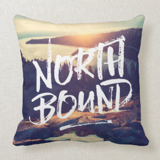 North Bound Dry Brush Typography Photo Template Throw Pillow