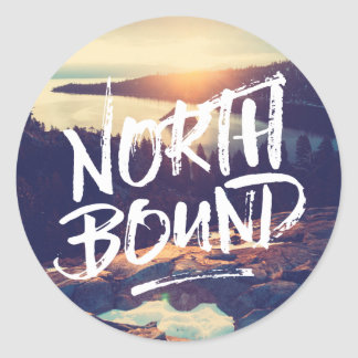 North Bound Quote Brush Typography Photo Template Classic Round Sticker