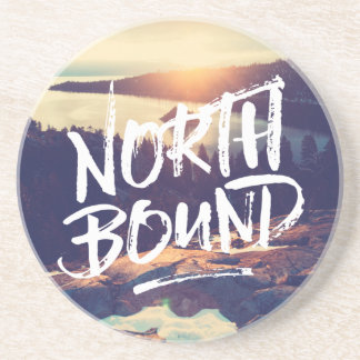 North Bound Quote Brush Typography Photo Template Drink Coaster