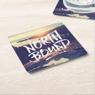 North Bound Quote Brush Typography Photo Template Square Paper Coaster