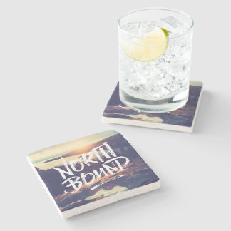 North Bound Quote Brush Typography Photo Template Stone Coaster