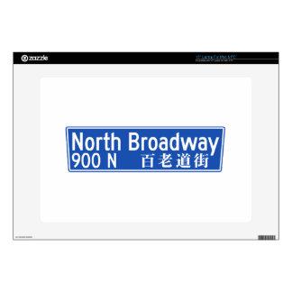 "North Broadway, Los Angeles, CA Street Sign 15"" Laptop Decals"