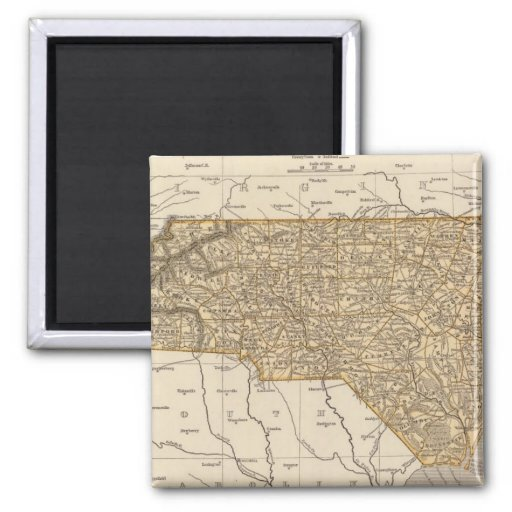 North Carolina Atlas Map 2 Inch Square Magnet