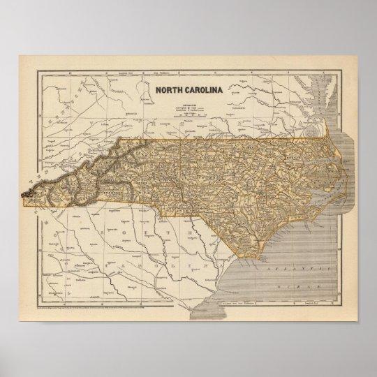 North Carolina Atlas Map Poster