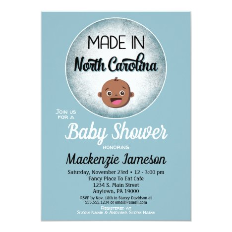 North Carolina Baby Shower African American Blue B Invitation