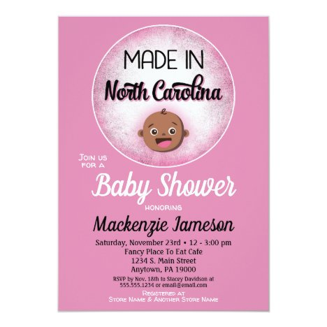 North Carolina Baby Shower African American Pink B Invitation