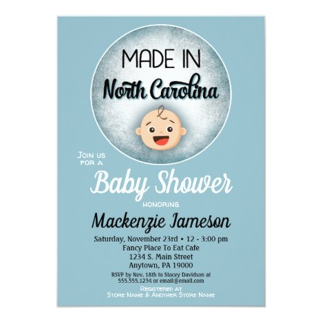 North Carolina Baby Shower Funny Blue Boys Invitat Invitation