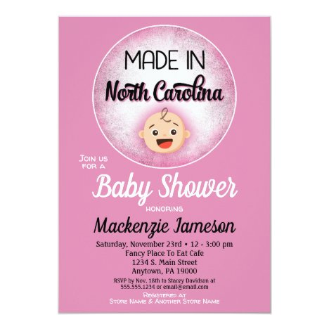 North Carolina Baby Shower Funny Pink Girls Invita Invitation