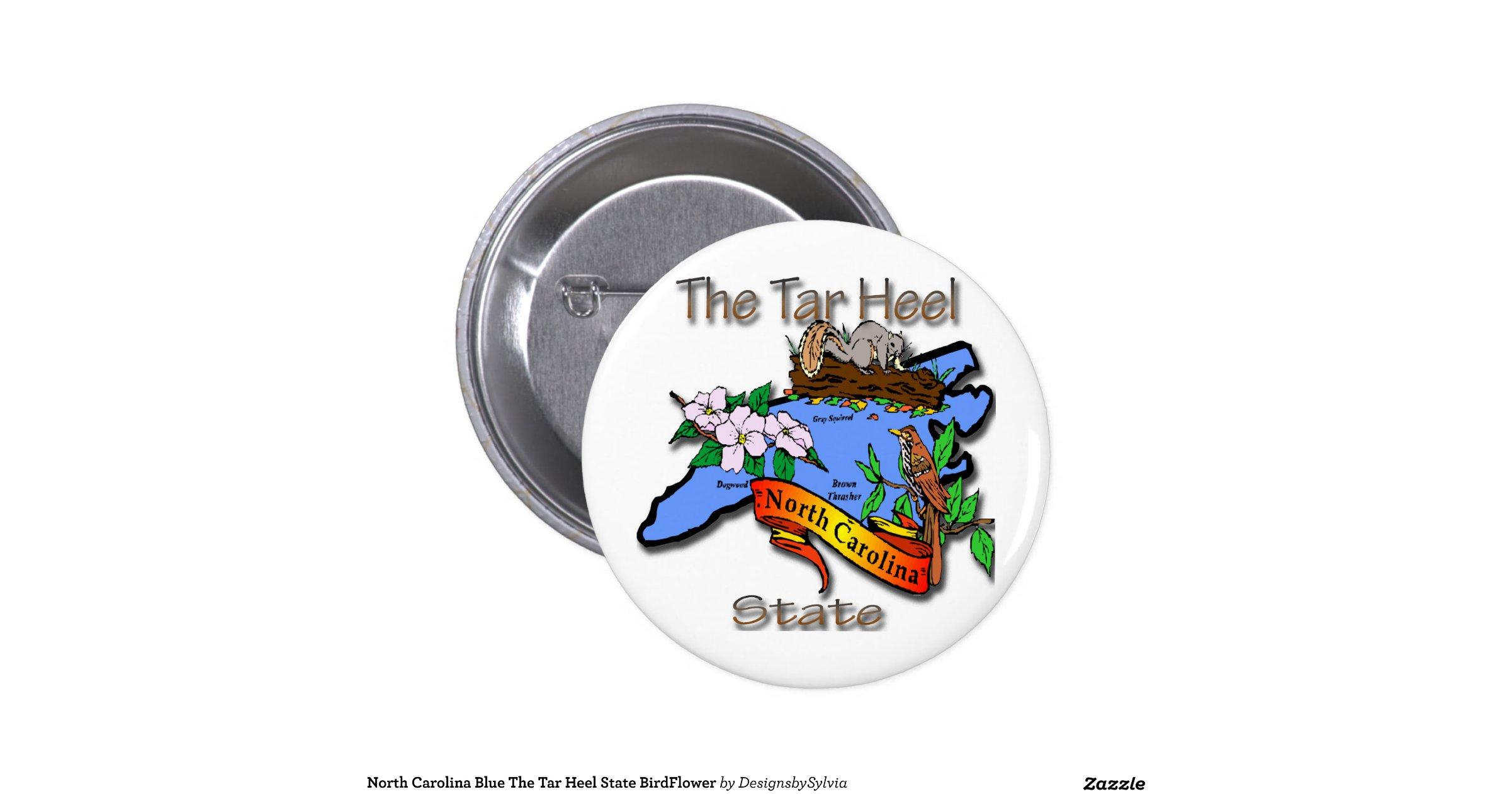 north carolina blue the tar heel state birdflower 2 inch round button
