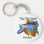 North Carolina Blue The Tar Heel State BirdFlower Basic Round Button Keychain