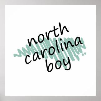 North Carolina Boy on Child's North Carolina Map Poster