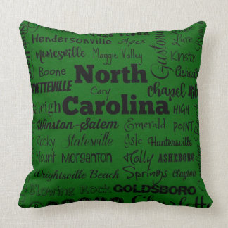 North Carolina cities throw pillow in green/black