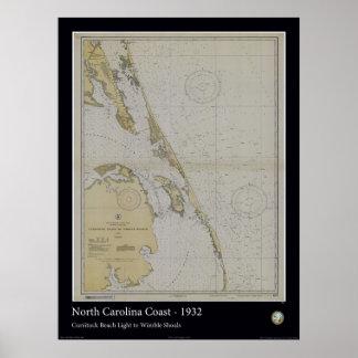 North Carolina Coast - 1932 Poster
