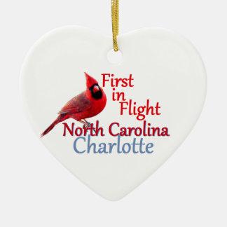 NORTH CAROLINA Double-Sided HEART CERAMIC CHRISTMAS ORNAMENT