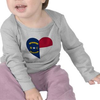 North Carolina Flag Heart T Shirts