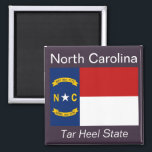 """North Carolina Flag Magnet<br><div class=""""desc"""">An authentic premium quality image of the flag of North Carolina set between the state name and nickname over a flag-color background.</div>"""