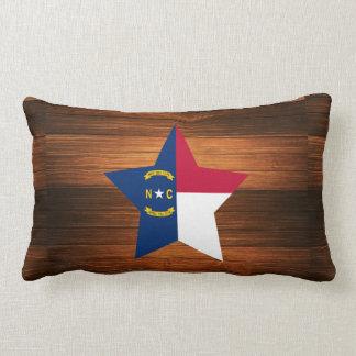North Carolina Flag Star on Wood Lumbar Pillow