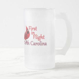 NORTH CAROLINA FROSTED GLASS BEER MUG