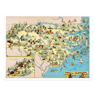 North Carolina Funny Vintage Map Postcard