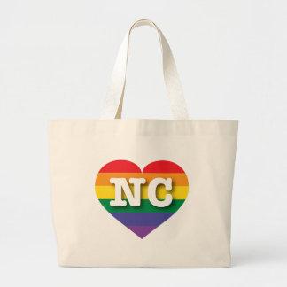 North Carolina Gay Pride Rainbow Heart - Big Love Jumbo Tote Bag