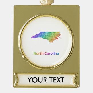 North Carolina Gold Plated Banner Ornament