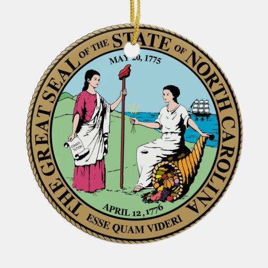 North Carolina Great Seal Ceramic Ornament
