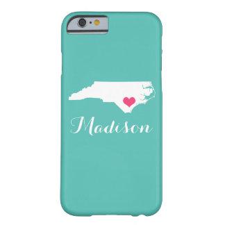 North Carolina Heart Aqua Custom Monogram Barely There iPhone 6 Case