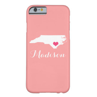 North Carolina Heart Coral Custom Monogram Barely There iPhone 6 Case