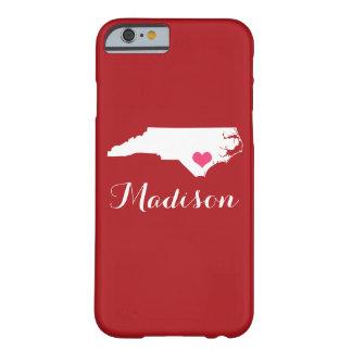 North Carolina Heart Maroon Custom Monogram Barely There iPhone 6 Case