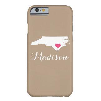 North Carolina Heart Mocha Brown Custom Monogram Barely There iPhone 6 Case
